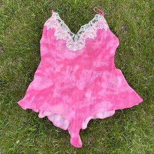 Free People Pink Tie-Dye Lace Bodysuit Teddy
